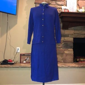 St. John  Marie gray rare cobalt blue skirt suit